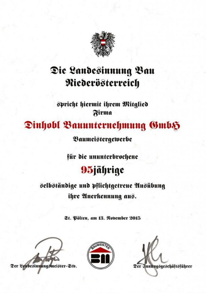 Urkunde zum 95jährigen Bestehen der Baufirma Dinhobl Bauunternehumg